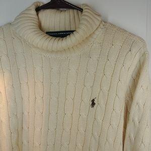 Ralph Lauren Sport XL V Neck White Cotton Sweater
